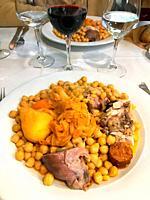Cocido madrileño serving. Madrid, Spain.