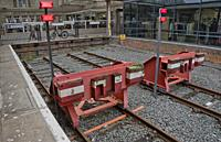 Buffer stop bumpers at a train station in Aberystwyth,Ceredigion,Wales,UK.