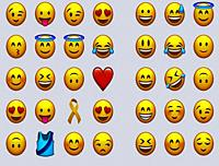Commonly used emoji emoticons and other symbols, icons, vector illustrations.