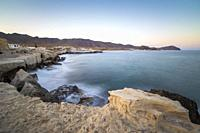 Los Escullos beach by sunset in Cabo de Gata natural park Almeria Andalusia Spain. fossilized dunes