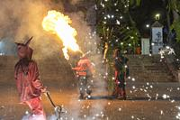 Godella Valencia Spain on October 9, 2020: Firerun Correfoc performance by the devils. . Folklore and tradition in Catalonia, Spain.