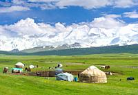 Traditional yurt in the Alaj valley with the Transalai mountains with Pik Kurumdy (6614) in the background. The Pamir Mountains, Asia, Central Asia, K...