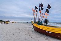 Fishing boats on a Baltic Sea beach in Debki village in administrative district of Gmina Krokowa, within Puck County, Pomeranian Voivodeship, Poland.