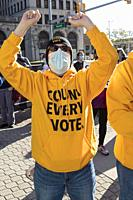 Detroit, Michigan USA - 4 November 2020 - As President Trump filed suit to halt the counting of Michigan ballots in the 2020 presidential election, pe...