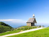 Chapel Steinlingkapelle at Mt. Kampenwand in the Chiemgau Alps in upper bavaria. Europe, Germany, Bavaria.