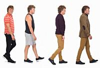 side view of the same man with different outfits.