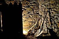 Tools in a barn of Valencia de Sil, Vilamartin de Valdeorras, Orense, Spain