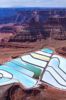 Aerial View Texas Gulf Potash Pond, Canyonlands National Park, Utah, Usa, America.