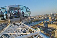 Aerial View from London Eye, London, England, Great Britain, Europe.
