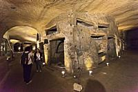 Catacombs of Saint Gaudiosus are underground paleo-Christian burial sites, Santa Maria della Sanità, church, Rione Sanità, Naples city, Campania, Ital...