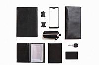 Flat lay set Men's classic clothing, jacket pants shirt bow tie leather belt shoes wrist watch wallet pens umbrella cane car keys isolated items on wh...