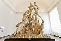 Farnese Bull, Toro Farnese, marble statue, Hellenistic sculpture, National Archaeological Museum of Naples, MANN, Naples city, Campania, Italy, Europe...
