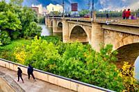 Puente de Piedra (Stone bridge), Rio Ebro, Way of Saint James, Camino de Santiago, Logroño, La Rioja, Spain, Europe