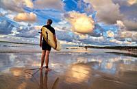 Surfer, Sunset, Beach, Hendaye, Aquitaine, Pyrenees Atlantiques, France, Europe