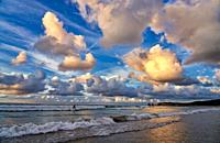 Sunset, Beach, Hendaye, Aquitaine, Pyrenees Atlantiques, France, Europe