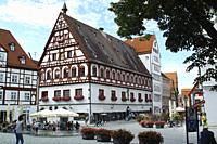 Nördlingen towncenter in summer.