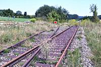 forgotten railway in waste land boondocks.