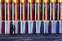 Wall of fountain covered in mosaic tiles by Israeli artist Yaacov Agam, in the La Defense area in Paris, France.