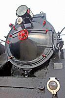 old railway locomotive, Museu del Ferrocarril de Vilanova i la Geltrú, Catalonia, Spain