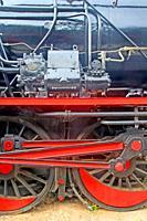 wheels of old railway locomotive, Museu del Ferrocarril de Vilanova i la Geltrú, Catalonia, Spain