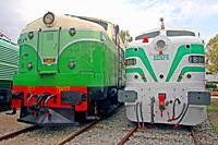 Old railway locomotives, Museu del Ferrocarril de Vilanova i la Geltrú, Catalonia, Spain