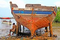 boat under repair, Mkokotoni, Unguja Island, Zanzibar