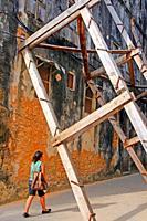reinforcements to the building wall, Stone Town, Unguja Island, Zanzibar