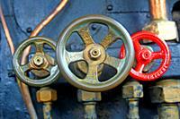 Boiler valves of an old railway locomotive, Museu del Ferrocarril de Vilanova i la Geltrú, Catalonia, Spain