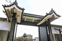Traditional gate in castle wall around Osaka Castle, Osaka, Japan