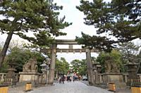 Main entrance gate to Sumiyoshi-taisha shrine, Osaka, Japan