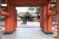 View from the rear entrance into the inner grounds of Sumiyoshi-taisha shrine, Osaka, Japan