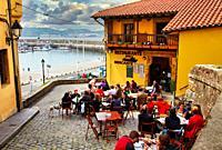 Restaurante Mercante, Terrace, Cimadevilla, Gijon. Asturias. Spain, Europe
