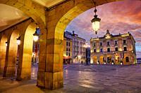 Main Square and Town Hall. Plaza Mayor, Gijón, Asturias, Spain, Europe