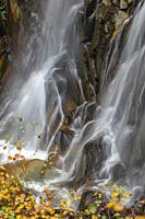 Waterfall detail at autumn, Pyrenees mountains