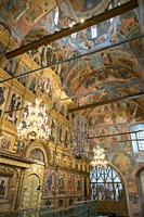 Interior of Dormition Cathedral at Kirillo-Belozersky Monastery, Russia.