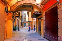 Street with arcade and houses in El Born district, Ciutat Vella, Barcelona, ??Catalonia, Spain