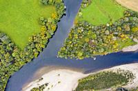 Autumn view of confluence of River Tay and River Tummel at Ballinluig. River Tay (top) and River Tummel are two of Scotland's foremost salmon rivers. ...