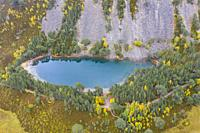 Autumn aerial view of An Lochan Uaine malso known as the Green Loch due to the striking green colour of it's water in Cairngorms National Park, Scotla...