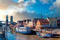 Historic cityscape at the inland port, Husum, Schleswig-Holstein, Germany, Europe.
