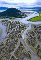 Aerial View, Escalante, Marismas de Santoña, Victoria y Joyel Natural Park,Cantabrian Sea, Cantabria, Spain, Europe.