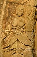 France, Dordogne, Saint-Martin de Besse church (11-12th C), Angel.