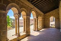Atrium of San Juan Bautista church. Jodra del Pinar, Guadalajara province, Castilla La Mancha, Spain.