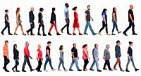 large group of mixed people walking on white background,.