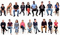 large group of mixed people siiting on chair on white background.