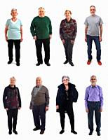 mixed group of mature people on white background.