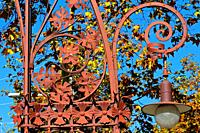 Detail of the modernist wrought iron lamppost of Passeig de Gracia de Pere Falqués i Urpí, Eixample district, Barcelona, Catalonia, Spain