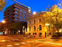 Ortega y Gasset street, night view. Madrid, Spain.