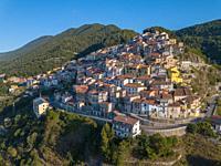Aerial view of Castelluccio Superiore, Province of Potenza, Basilicata, Italy.