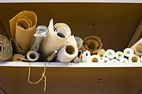 Rolls of paper in an office at Strijp-S, Eindhoven, The Netherlands, Europe.