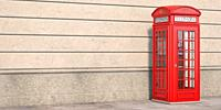 Red phone booth on brick wall background. London, british and english symbol. Space for text. 3d illustration.